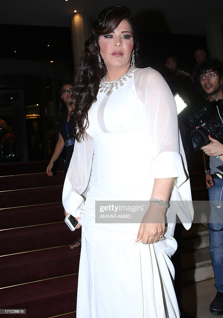 UAE singer Ahlam arrives for the 13eme Murex D'or Festival taking place at the Casino Du Liban, north of the capital Beirut, on June 23, 2013.