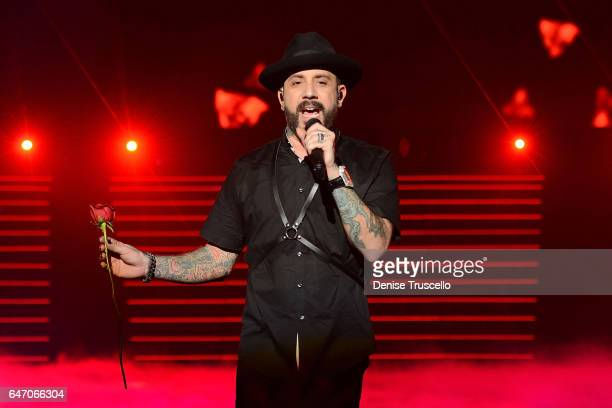 Singer AJ McClean of the Backstreet Boys perform during the launch of the group's residency 'Larger Than Life' at The Axis at Planet Hollywood Resort...