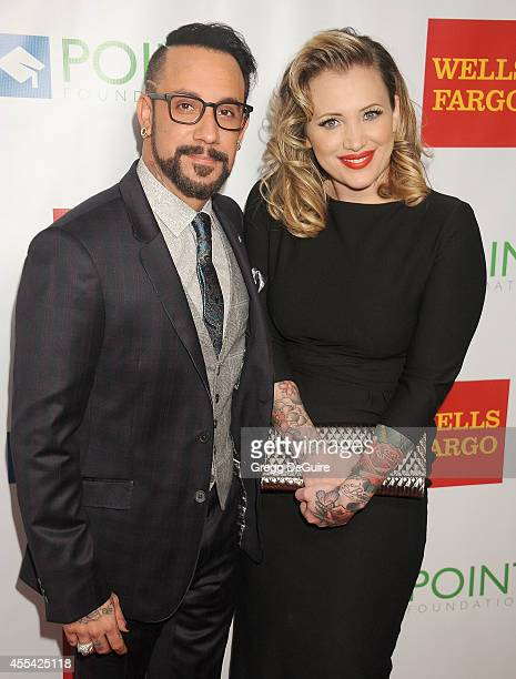 Singer AJ McLean and wife Rochelle Deanna Karidis arrive at Point Foundation's Annual 'Voices On Point' Fundraising Gala at the Hyatt Regency Century...