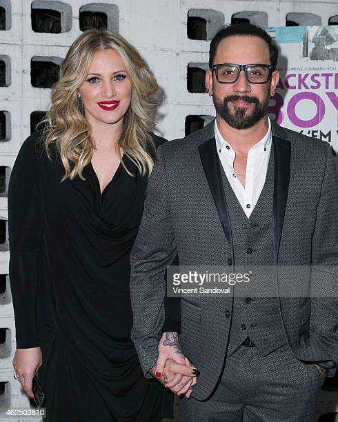 Singer AJ McLean of The Backstreet Boys and wife Rochelle Deanna Karidis attend the Los Angeles premiere of 'Backstreet Boys Show 'Em What You're...