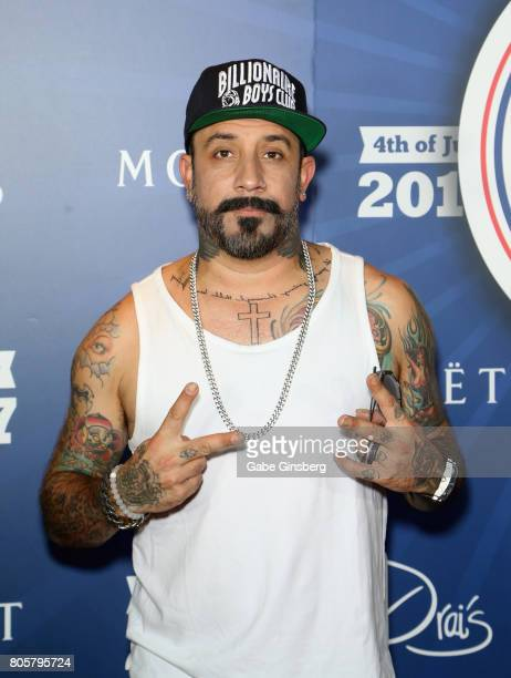 Singer AJ McLean of the Backstreet Boys attends a Fourth of July weekend celebration at Drai's Beach Club Nightclub at The Cromwell Las Vegas on July...
