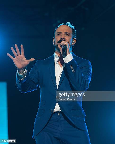 Singer AJ McLean of the Backstreet Boys performs at FirstMerit Bank Pavilion at Northerly Island on June 11 2014 in Chicago Illinois
