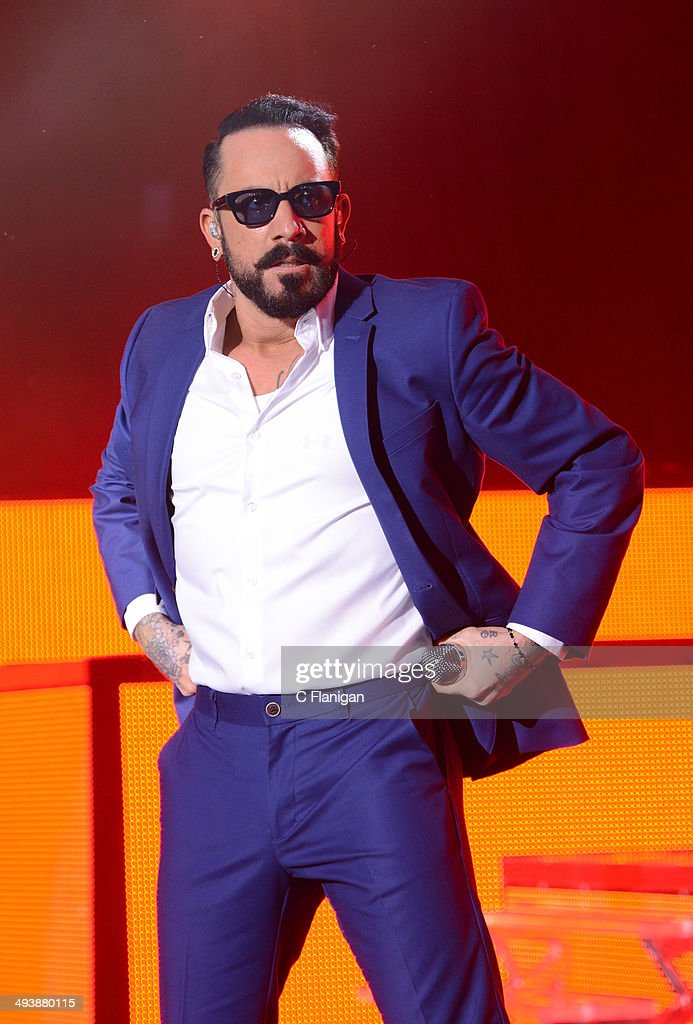 Singer <a gi-track='captionPersonalityLinkClicked' href=/galleries/search?phrase=AJ+McLean&family=editorial&specificpeople=208803 ng-click='$event.stopPropagation()'>AJ McLean</a> of the Backstreet Boys performs during the 'In a World Like This' summer tour at Shoreline Amphitheatre on May 25, 2014 in Mountain View, California.