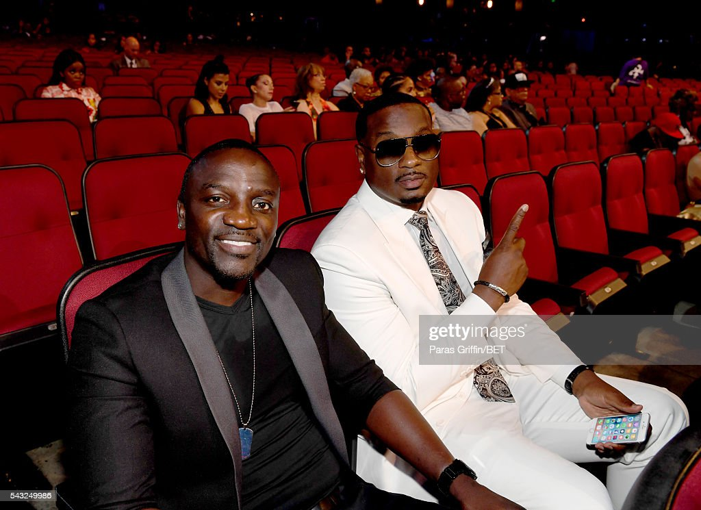 Singer <a gi-track='captionPersonalityLinkClicked' href=/galleries/search?phrase=Akon+-+Singer&family=editorial&specificpeople=2538597 ng-click='$event.stopPropagation()'>Akon</a> (L) and producer Devyne Stephens attend the 2016 BET Awards at the Microsoft Theater on June 26, 2016 in Los Angeles, California.