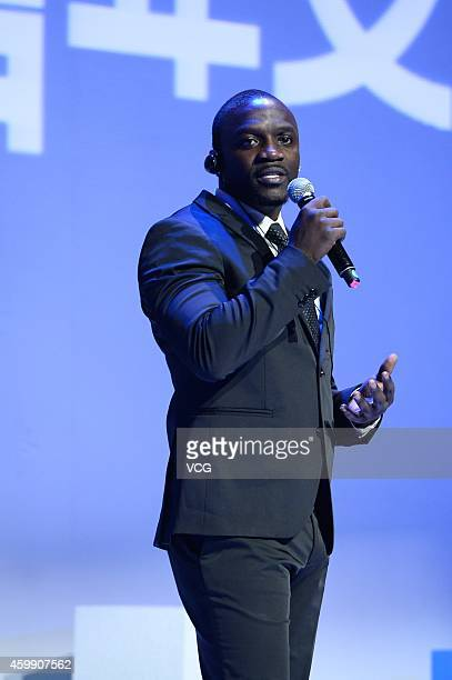 Singer Akon attends the first 'Global Youth Culture Summit' held by EEMedia at DAD£­Dashanzi Art District on December 3 2014 in Beijing China