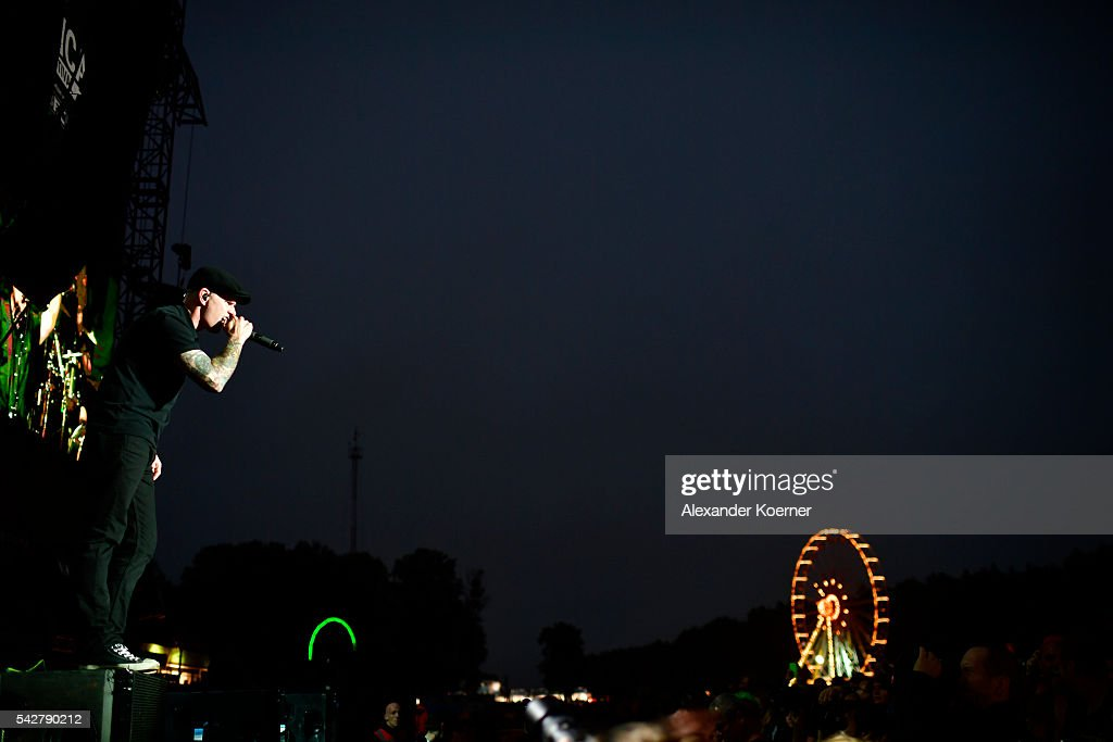 Singer Al Barr of the band Dropkick Murphys performs on Green Stage at the first day of the Hurricane festival on June 24, 2016 in Scheessel, Germany.