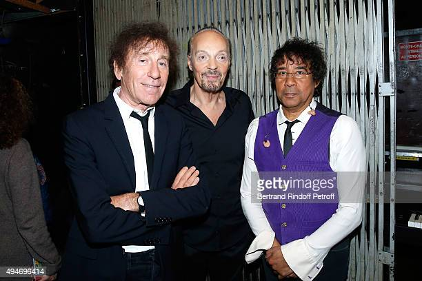 Singer Alain Souchon Alan Stivell and Laurent Voulzy attend the 'Vivement Dimanche' French TV Show at Pavillon Gabriel on October 28 2015 in Paris...