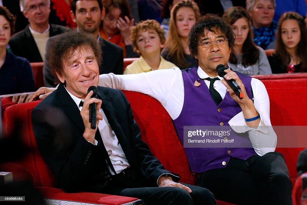 Singer Alain Souchon and Laurent Voulzy attend the 'Vivement Dimanche' French TV Show at Pavillon Gabriel on October 28, 2015 in Paris, France.