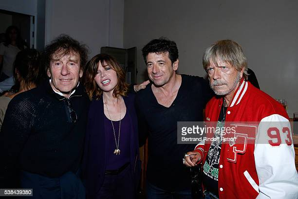 Singer Alain Souchon Isabelle Morizet singers Patrick Bruel and Renaud Sechan pose after the Concert of Patrick Bruel at Theatre Du Chatelet on June...