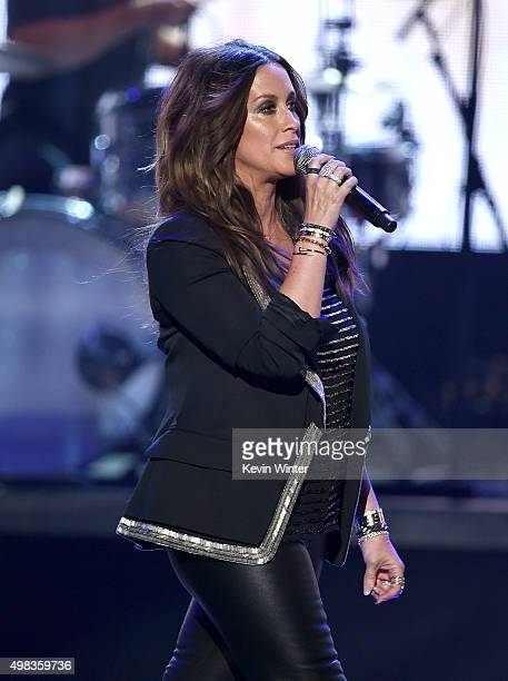 Singer Alanis Morissette performs onstage during the 2015 American Music Awards at Microsoft Theater on November 22 2015 in Los Angeles California