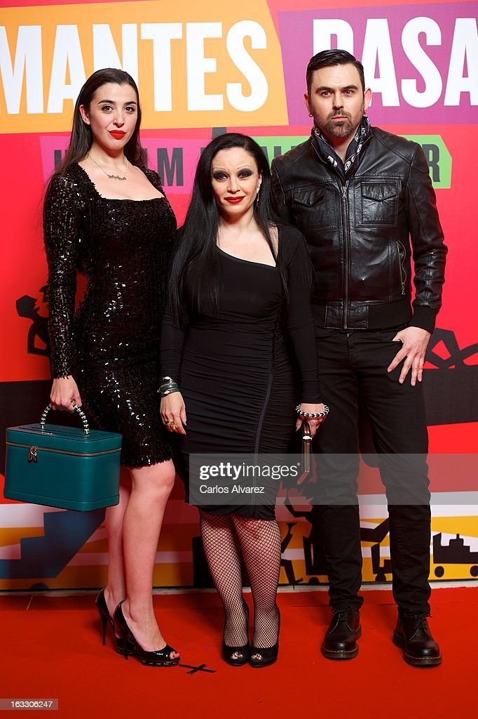 Singer Alaska (C) attend 'Los Amantes Pasajeros' premiere party at Casino de Madrid on March 7, 2013 in Madrid, Spain.