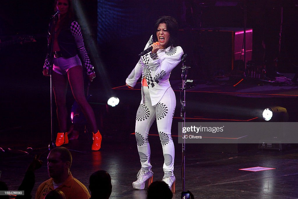 Singer Alejandra Guzman performs on stage at Gibson Amphitheatre on November 3, 2012 in Universal City, California.