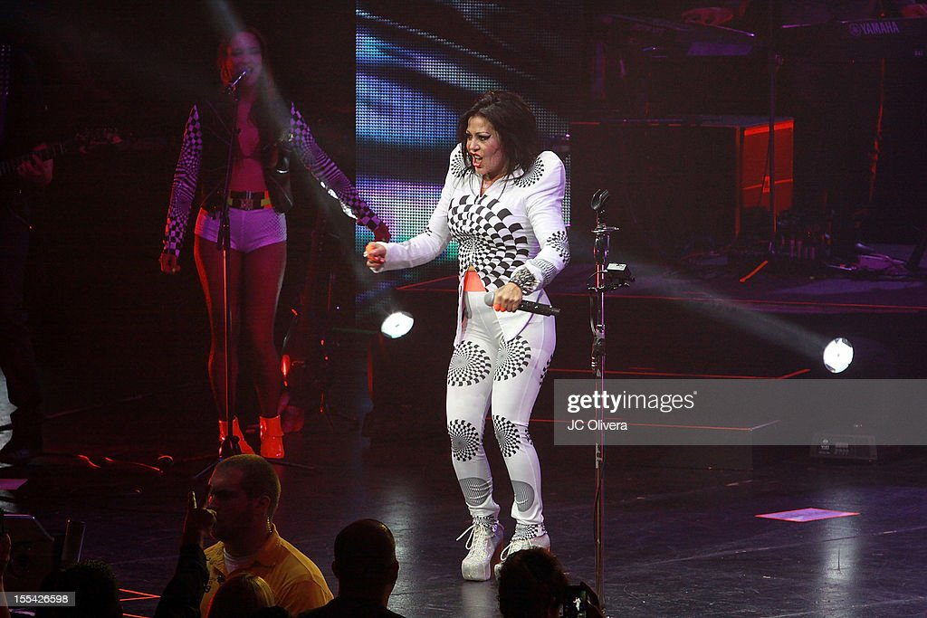 Singer <a gi-track='captionPersonalityLinkClicked' href=/galleries/search?phrase=Alejandra+Guzman&family=editorial&specificpeople=217794 ng-click='$event.stopPropagation()'>Alejandra Guzman</a> performs on stage at Gibson Amphitheatre on November 3, 2012 in Universal City, California.