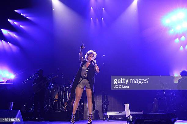 Singer Alejandra Guzman performs on stage during iHeartRadio Fiesta Latina Music Festival at The Forum on November 22 2014 in Inglewood California