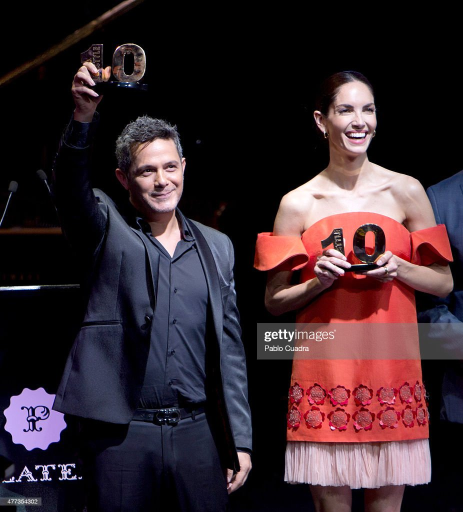 Singer Alejandro Sanz and model Eugenia Silva attend Lifestyle 10 Awards gala at Platea on June 16 2015 in Madrid Spain