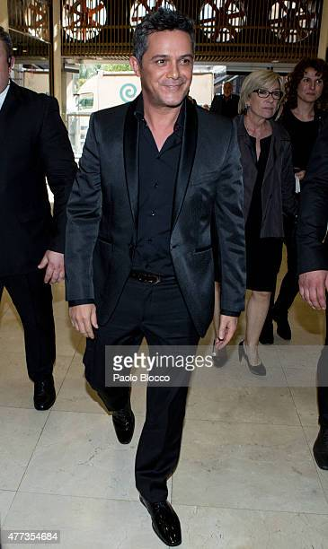 Singer Alejandro Sanz is seen arriving to the Lifestyle 10 Awards gala at Platea on June 16 2015 in Madrid Spain