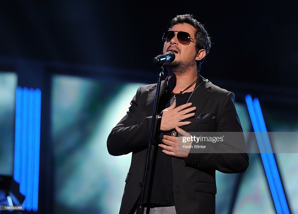 Singer Alejandro Sanz performs onstage during rehearsals for the 13th annual Latin GRAMMY Awards at the Mandalay Bay Events Center on November 14, 2012 in Las Vegas, Nevada.