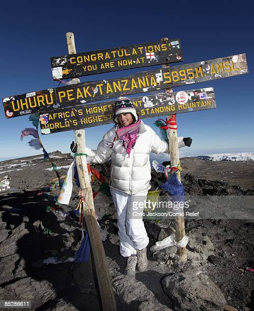 Singer Alesha Dixon poses as she reaches the top of Mount Kilimanjaro on the seventh day of The BT Red Nose Climb of Kilimanjaro on March 7 2009 in...