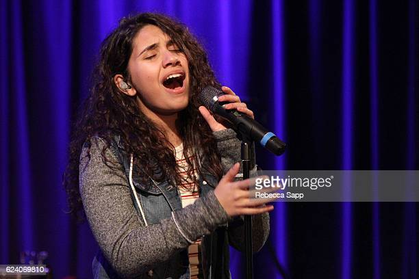 Singer Alessia Cara performs at Alessia Cara Event at The GRAMMY Museum on November 17 2016 in Los Angeles California