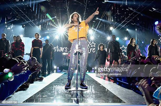 Singer Alessia Cara performs onstage during 2016 Nickelodeon HALO Awards at Basketball City Pier 36 South Street on November 11 2016 in New York City