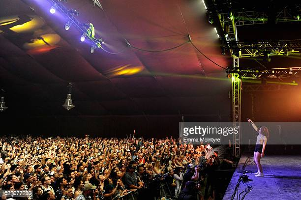 Singer Alessia Cara performs onstage during day 3 of the 2016 Coachella Valley Music And Arts Festival Weekend 1 at the Empire Polo Club on April 17...