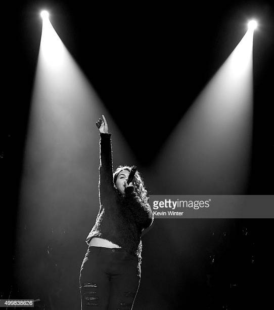 Singer Alessia Cara performs onstage during WiLD 949's FM's Jingle Ball 2015 presented by Capital One at ORACLE Arena on December 3 2015 in Oakland...