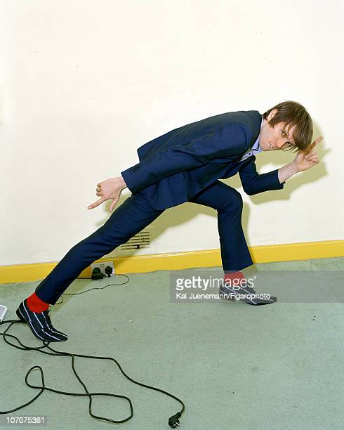 Singer Alex Kapranos of Franz Ferdinand poses for Madame Figaro in Glasgow Scotland in 2006 Published image Figaro ID 069752006 Suit by Dormeuil...