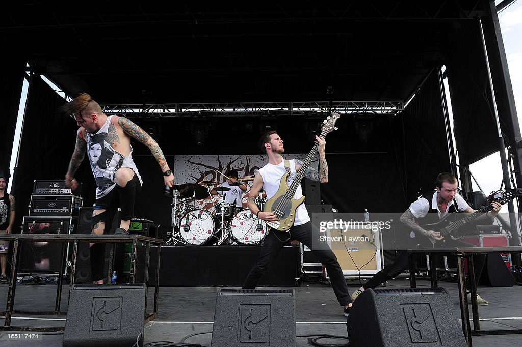 Singer Alex Koehler, drummer Pablo Viveros, bassist David Flinn and guitarist Jaek Harmond of the band Chelsea Grin perform during the 18th annual Extreme Thing Sports & Music Festival on March 30, 2013 in Las Vegas, Nevada.