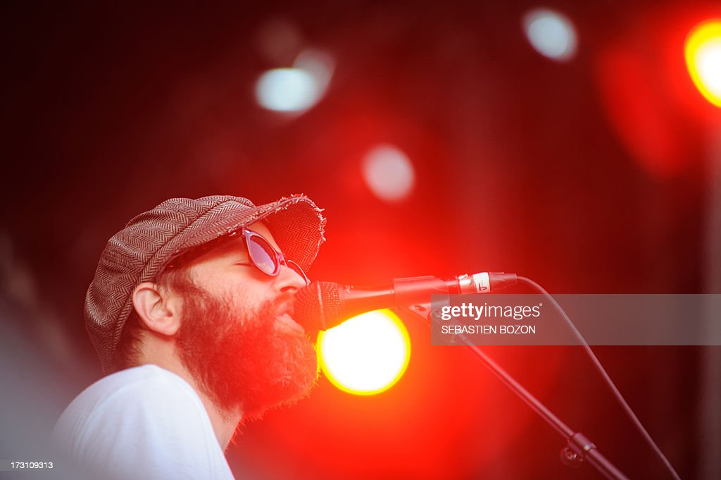 US singer Alex Maas of The Black Angels band performs on stage on July 7, 2013 during the Eurockeennes music festival in the French eastern city of Belfort. AFP PHOTO / SEBASTIEN BOZON