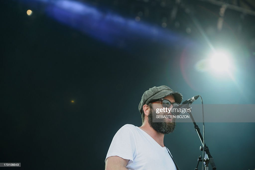 US singer Alex Maas of The Black Angels band performs on stage on July 7, 2013 during the Eurockeennes music festival in the French eastern city of Belfort.