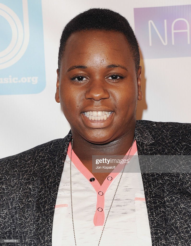 Singer Alex Newell arrives at the NARM Music Biz 2013 Awards Dinner Party at the Hyatt Regency Century Plaza on May 9, 2013 in Century City, California.
