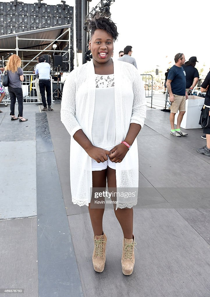 Singer Alex Newell poses onstage during day 2 of the 2015 Coachella Valley Music Arts Festival at the Empire Polo Club on April 11 2015 in Indio...