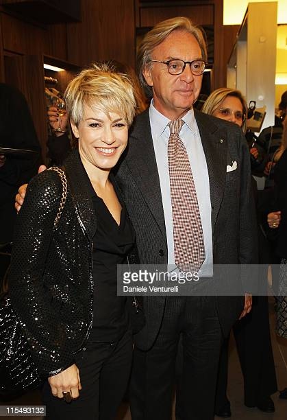 Singer Alexia and CEO of Tod's Diego Della Valle attend Fay flagship store opening at Via Fontanella Borghese on October 28 2008 in Rome Italy