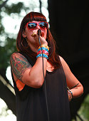 Singer Alexis Krauss of Sleigh Bells performs during the 2010 Pitchfork Music Festival at Union Park on July 18 2010 in Chicago Illinois