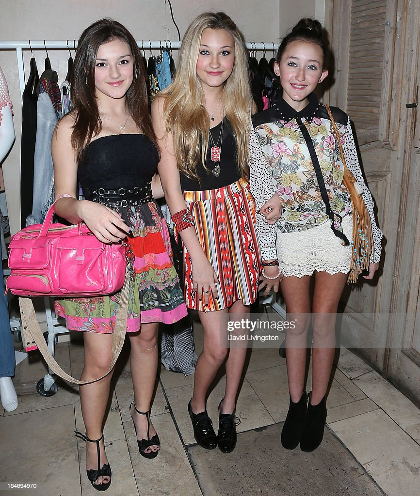 Singer Alexis Wilkins and actresses Kelly Crook and <a gi-track='captionPersonalityLinkClicked' href=/galleries/search?phrase=Noah+Cyrus&family=editorial&specificpeople=5363850 ng-click='$event.stopPropagation()'>Noah Cyrus</a> attend the Boohoo's Summer 2013 Press Day at SUR Lounge on March 26, 2013 in Los Angeles, California.