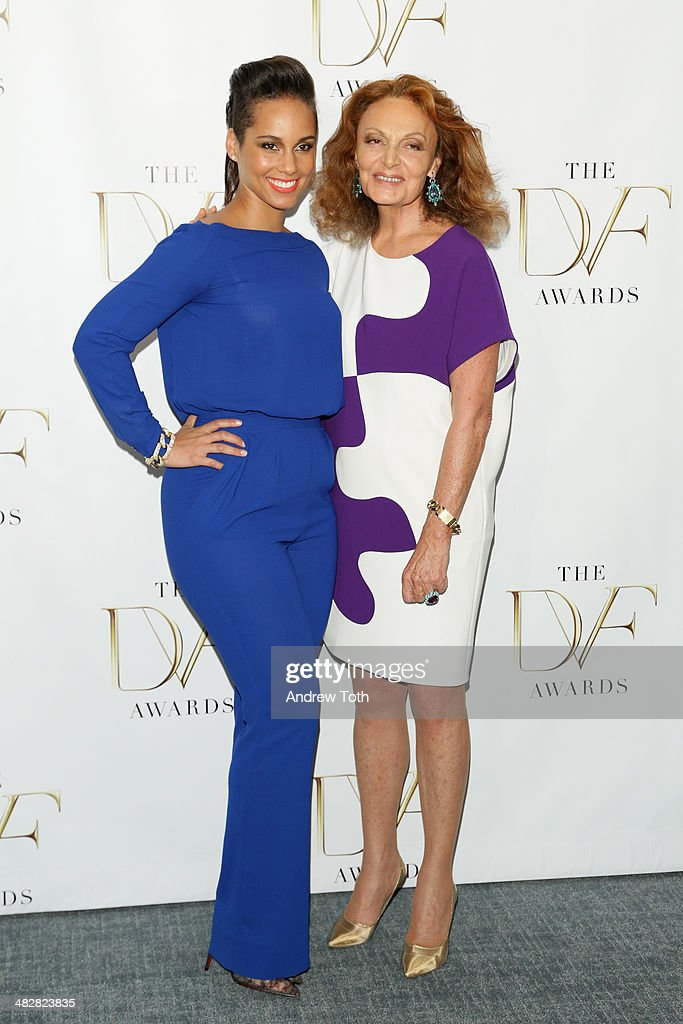 Singer <a gi-track='captionPersonalityLinkClicked' href=/galleries/search?phrase=Alicia+Keys&family=editorial&specificpeople=169877 ng-click='$event.stopPropagation()'>Alicia Keys</a> (L) and designer Diane von Furstenberg attend the 2014 DVF Awards on April 4, 2014 in New York City.