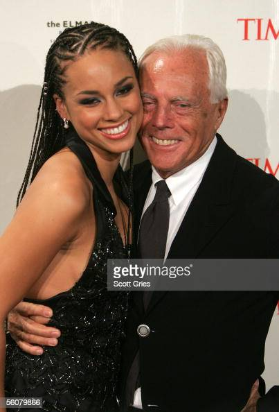 Singer Alicia Keys and designer Giorgio Armani arrive at the Keep a Child Alive Annual Fundraiser 'The Black Ball' at Frederick P Rose Hall at...