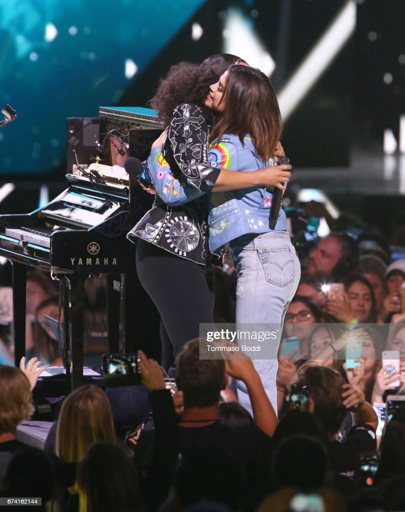 Singer Alicia Keys and host of WE Day California, actress/singer and UNICEF Goodwill Ambassador Selena Gomez onstage at WE Day California to celebrate young people changing the world at The Forum on April 27, 2017 in Inglewood, California.