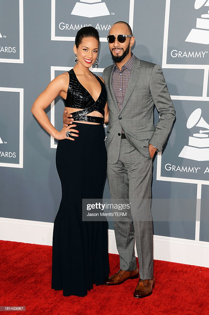 Singer Alicia Keys (L) and producer Swizz Beatz arrive at the 55th Annual GRAMMY Awards at Staples Center on February 10, 2013 in Los Angeles, California.