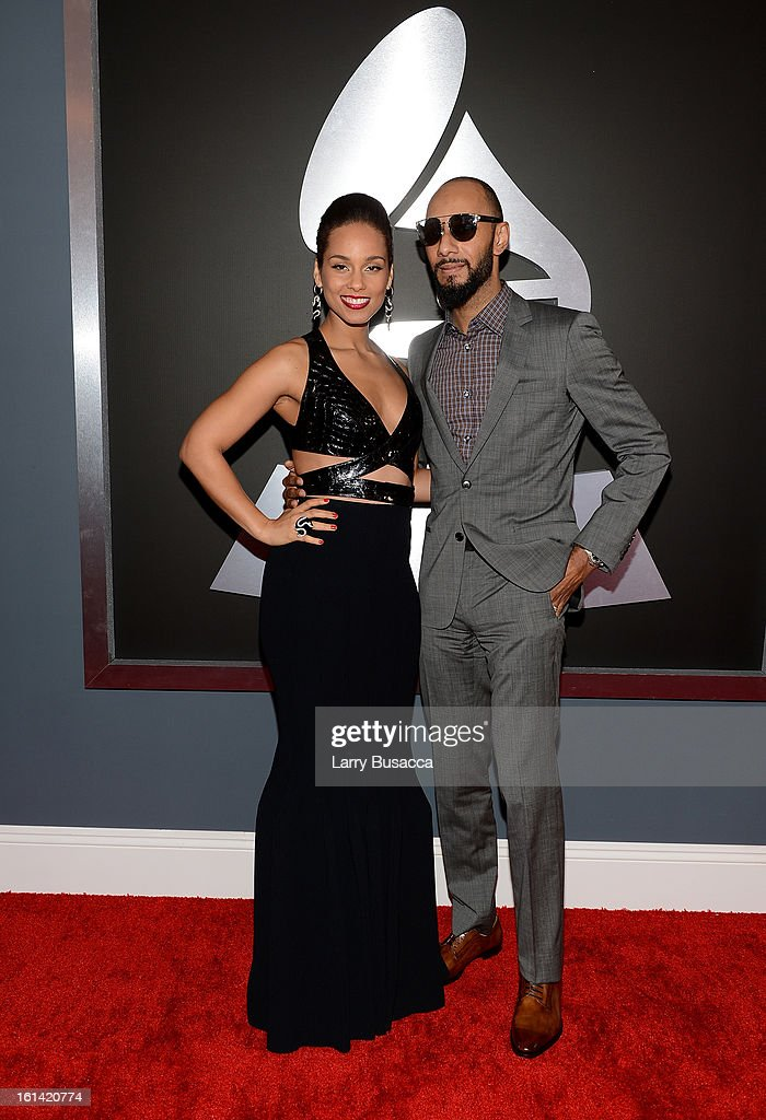 Singer Alicia Keys (L) and producer Swizz Beatz attend the 55th Annual GRAMMY Awards at STAPLES Center on February 10, 2013 in Los Angeles, California.