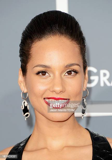 Singer Alicia Keys arrives at the 55th Annual GRAMMY Awards at Staples Center on February 10 2013 in Los Angeles California