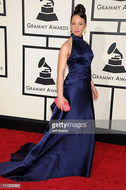 Singer Alicia Keys arrives to the 50th Annual GRAMMY Awards at the Staples Center on February 10 2008 in Los Angeles California