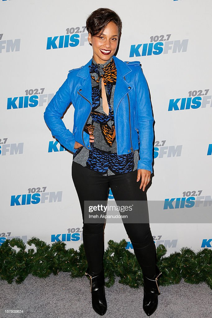 Singer <a gi-track='captionPersonalityLinkClicked' href=/galleries/search?phrase=Alicia+Keys&family=editorial&specificpeople=169877 ng-click='$event.stopPropagation()'>Alicia Keys</a> attends KIIS FM's 2012 Jingle Ball at Nokia Theatre L.A. Live on December 3, 2012 in Los Angeles, California.