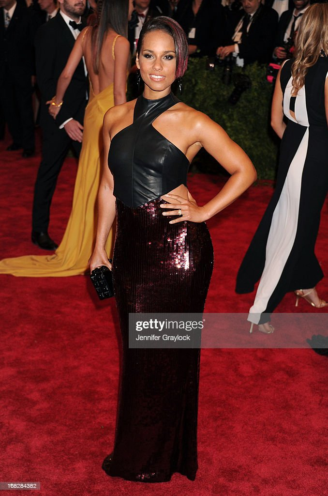 Singer Alicia Keys attends the Costume Institute Gala for the 'PUNK: Chaos to Couture' exhibition at the Metropolitan Museum of Art on May 6, 2013 in New York City.