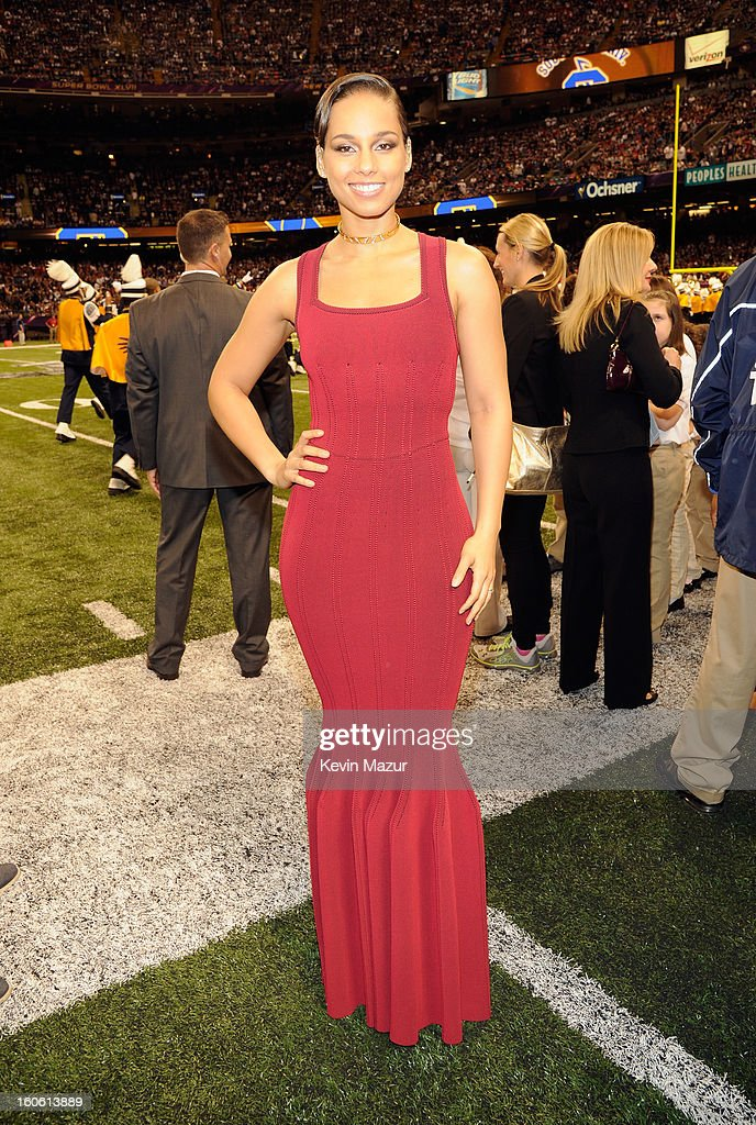Singer Alicia Keys attends the Pepsi Super Bowl XLVII Halftime Show at Mercedes-Benz Superdome on February 3, 2013 in New Orleans, Louisiana.