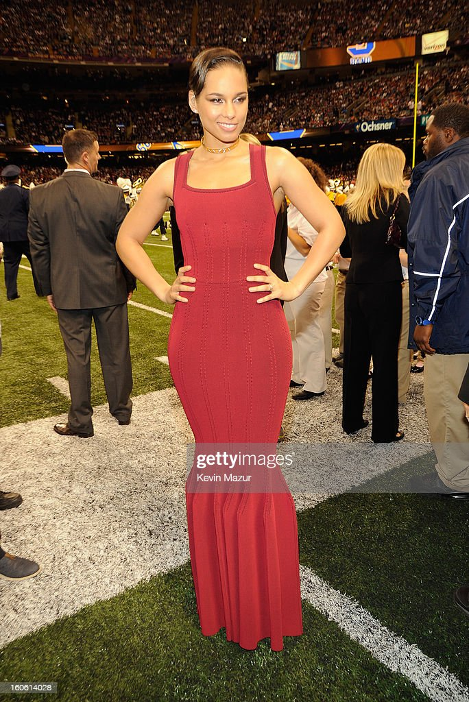 Singer Alicia Keys attends the Pepsi Super Bowl XLVII Pregame Show at Mercedes-Benz Superdome on February 3, 2013 in New Orleans, Louisiana.