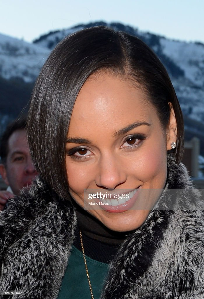 Singer <a gi-track='captionPersonalityLinkClicked' href=/galleries/search?phrase=Alicia+Keys&family=editorial&specificpeople=169877 ng-click='$event.stopPropagation()'>Alicia Keys</a> makes her way into the Nikki Beach pop-up lounge and restaurant on January 18, 2013 in Park City, Utah.