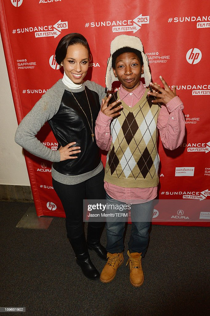 Singer <a gi-track='captionPersonalityLinkClicked' href=/galleries/search?phrase=Alicia+Keys&family=editorial&specificpeople=169877 ng-click='$event.stopPropagation()'>Alicia Keys</a> making a surprise appearance and actor Skylan Brooks at the 'The Inevitable Defeat of Mister and Pete' premiere during the 2013 Sundance Film Festival at Library Center Theater on January 17, 2013 in Park City, Utah.