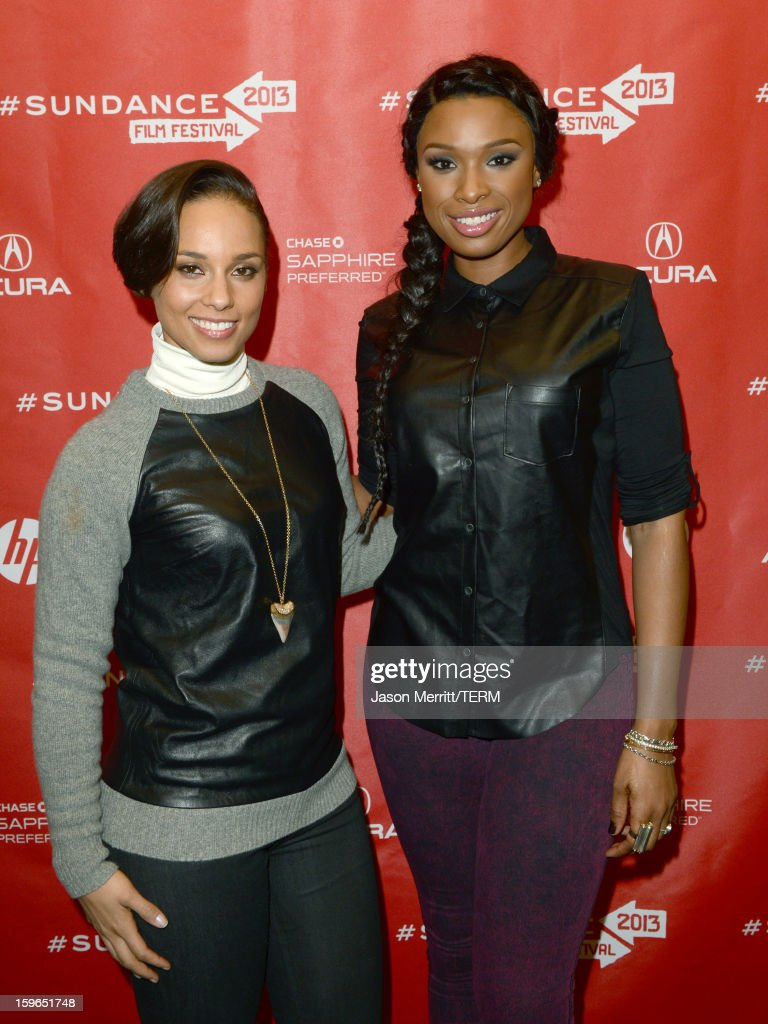 Singer Alicia Keys (L) making a surprise appearance and actress/singer Jennifer Hudson at a volunteer screening of 'The Inevitable Defeat of Mister and Pete' during the 2013 Sundance Film Festival at Library Center Theater on January 17, 2013 in Park City, Utah.