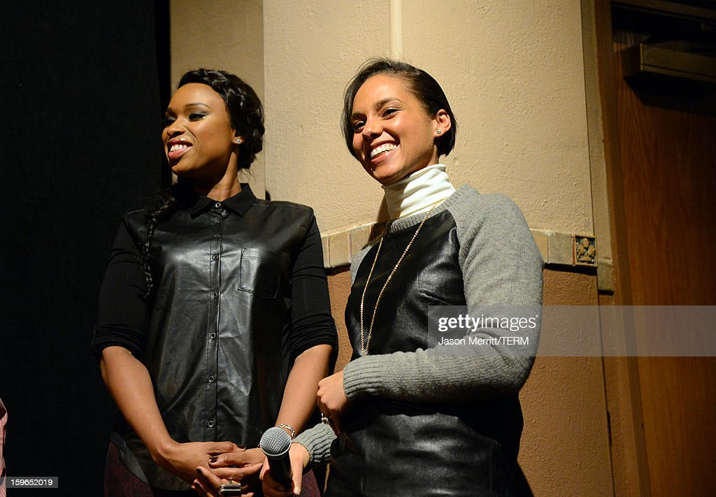 Singer Alicia Keys (R) making a surprise appearance and actress/singer Jennifer Hudson at a volunteer screening of 'The Inevitable Defeat of Mister and Pete' during the 2013 Sundance Film Festival at Library Center Theater on January 17, 2013 in Park City, Utah.